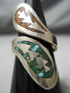 Incredible Vintage Native American Navajo Coral Sterling Silver Turquoise Ring Old
