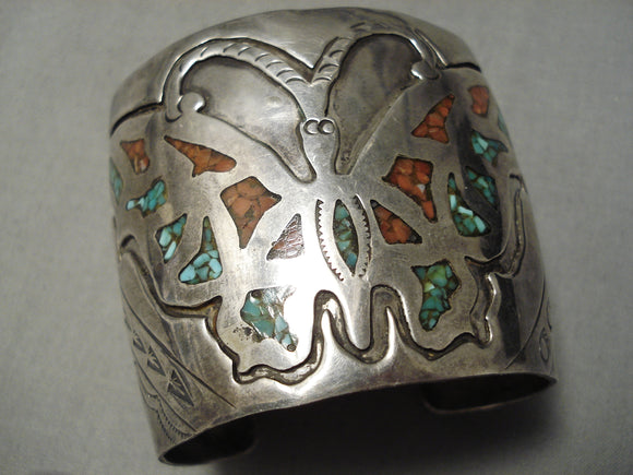 Best Vintage Native American Navajo Turquoise Coral Inlay Butterfly Sterling Silver Bracelet Old