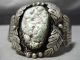 Huge Rare Vintage Native American Navajo Green Turquoise Red Matrix Sterling Silver Bracelet