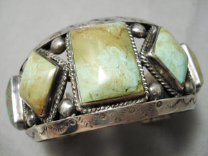 One Of Best Vintage Native American Navajo Royston Turquoise Sterling Silver Bracelet Old