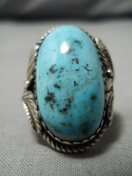 Best Vintage Native American Navajo Domed Persin Turquoise Sterling Silver Ring Old