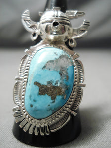 Amazing Vintage Native American Navajo Turquoise Sterling Silver Kachina Ring