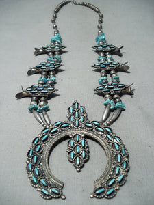 Women's Vintage Native American Navajo Needle Turquoise Sterling Silver Squash Blossom Necklace
