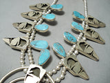 Detailed Native American Turquoise Sterling Silver Squash Blossom Necklace