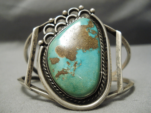 Very Rare Early Old Kingman Deposit Vintage Native American Navajo Sterling Silver Bracelet