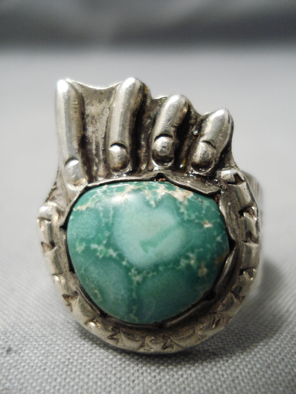 Marvelous Vintage Native American Navajo Green Turquoise Sterling Silver Paw Native America Ring