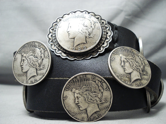 Astounding Vintage Native American Navajo Peace Silver Dollar Sterling Silver Concho Belt Old