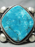 Colossal Heavy Signed Native American Navajo Vivid Turquoise Sterling Silver Bracelet