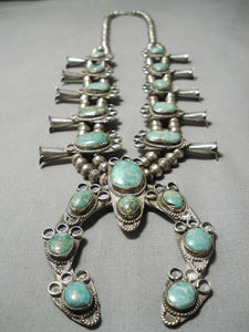 Statement Vintage Native American Navajo Rare Turquoise Sterling Silver Squash Blossom Necklace