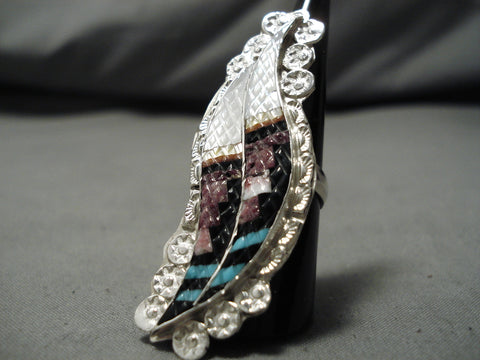 Impressive Vintage Zuni Native American Turquoise Inlay Sterling Silver Ring Old