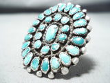 One Of Best Ever Vintage Native American Navajo Turquoise Cluster Sterling Silver Ring