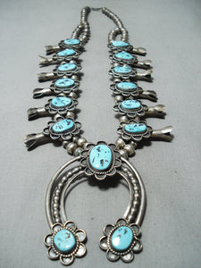 Authentic Vintage Native American Navajo Sleeping Turquoise Silver Squash Blossom Necklace