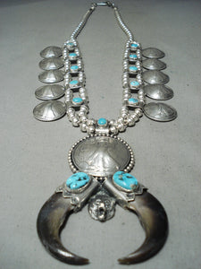 Heavy 282 Gram Native American Navajo Bear Turquoise Sterling Silver Squash Blossom Necklace