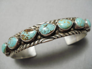Rare Vintage Native American Navajo Teardrop Royston Turquoise Sterling Silver Bracelet Old