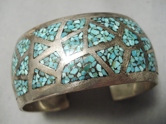 Intricate!! Vintage Native American Navajo Green Turquoise Inlay Sterling Silver Bracelet Old