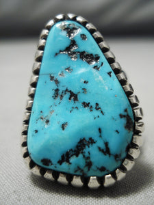 Superlative Vintage Native American Navajo Sleeping Beauty Turquoise Sterling Silver Ring
