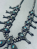 Powerful Womens Vintage Native American Navajo Turquoise Sterling Silver Squash Blossom Necklace