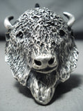 Eye-catching Native American Navajo Buffalo Head Head Sterling Silver Ring