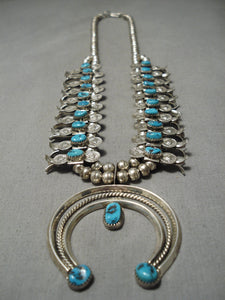 Incredible Vintage Native American Navajo Turquoise Sterling Silver Squash Blossom Necklace