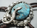 One Of The Biggest Craziest Native American Navajo Lizard Turquoise Sterling Silver Bolo Tie