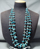 Beautiful Vintage Native American Navajo Blue Gem Kingman Turquoise Necklace