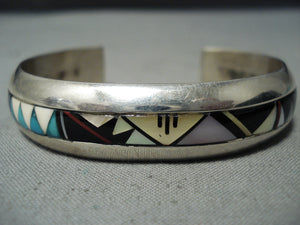 Thick Sturdy Vintage Native American Navajo Turquoise Coral Sterling Silver Bracelet