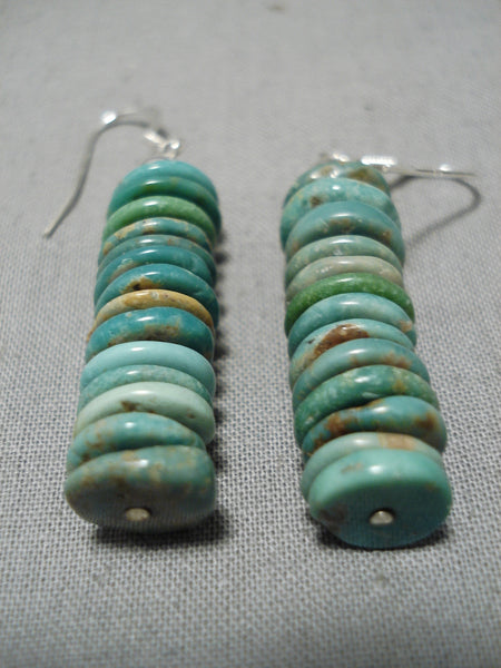 Fabulous Vintage Santo Domingo Native American Navajo Royston Turquoise Sterling Silver Earrings