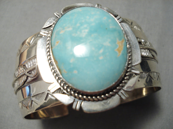 Heavy Vintage Native American Navajo Carico Lake Turquoise Sterling Silver Bracelet