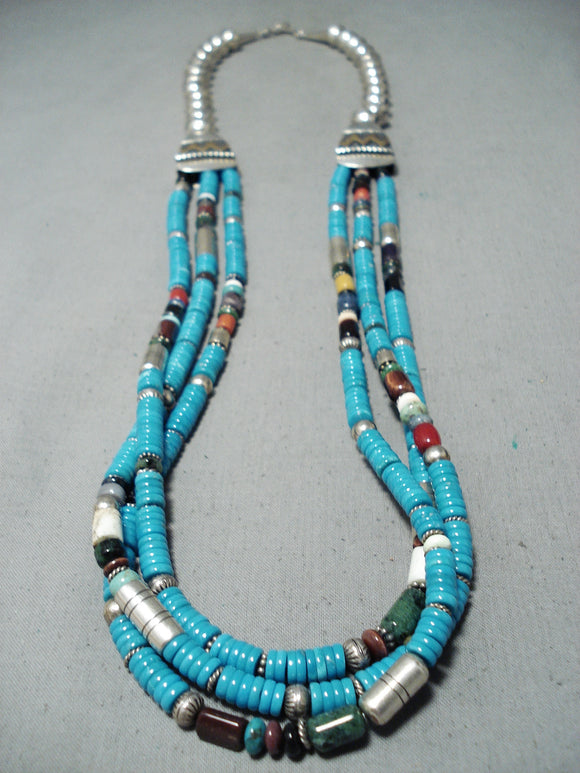 Authentic Vintage Native American Navajo Thomas Singer Turquoise Coral Sterling Silver Necklace