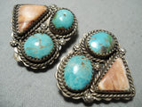 Dazzling Vintage Native American Navajo Turquoise Sterling Silver Shell Earrings