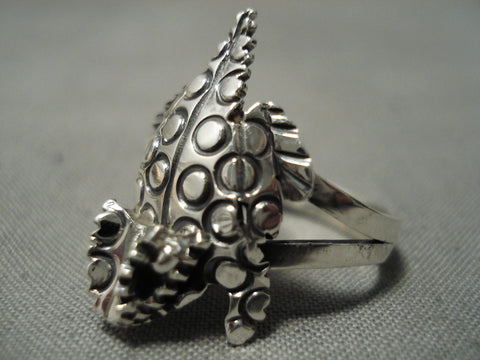 Important Native American Navajo Wilf Begay Sterling Silver Horned Toad Ring