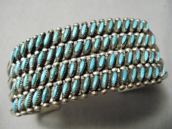 One Of The Best Vintage Native American Zuni Slanted Turquoise Sterling Silver Bracelet Old