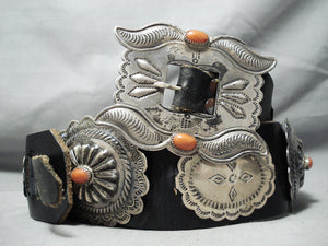 Rare Vintage Native American Navajo Triple Sectioned Coral Sterling Silver Concho Belt