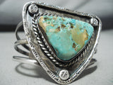 Huge Vintage Native American Navajo Triangular Royston Turquoise Sterling Silver Bracelet