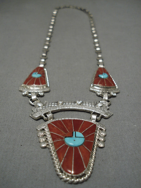 Important Tony Eriacho Coral Sterling Silver Native American Zuni Necklace Old