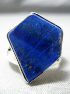 Huge Heavy Vintage Navajo Lapis Sterling Silver Native American Ring
