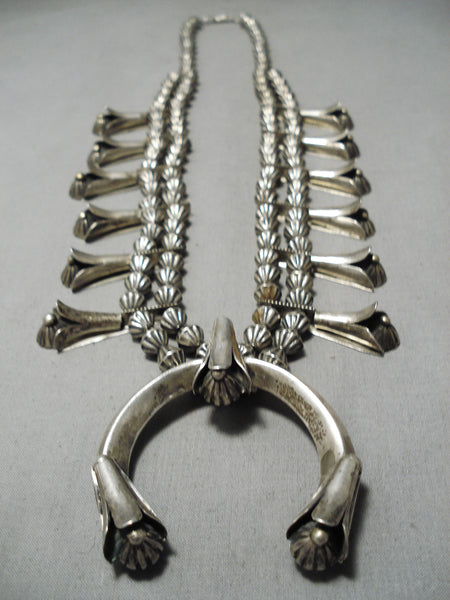 Very Rare Vintage Native American Navajo Hogan Sterling Silver Squash Blossom Necklace Old