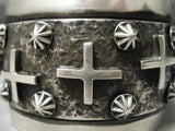 Important Vintage Native American Navajo Ronnie Willie Sterling Silver Cross Bracelet Cuff