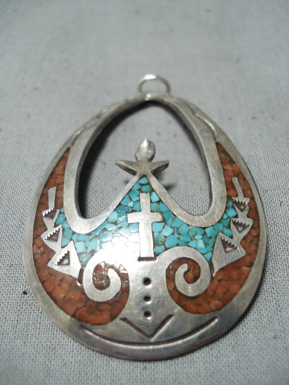 Will Singer Vintage Native American Navajo Turquoise Coral Inlay Sterling Silver Pendant Old