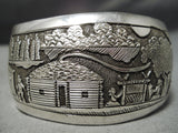 Detailed Intricate Vintage Native American Navajo Hogan Sterling Silver Bracelet