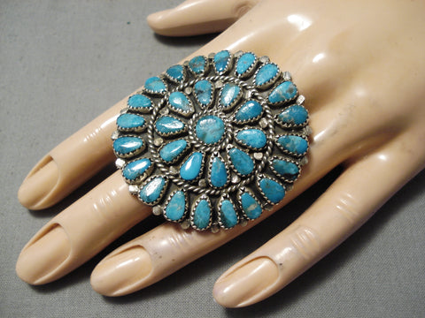 Fabulous Huge Navajo Turquoise Sun Sterling Silver Native American Ring