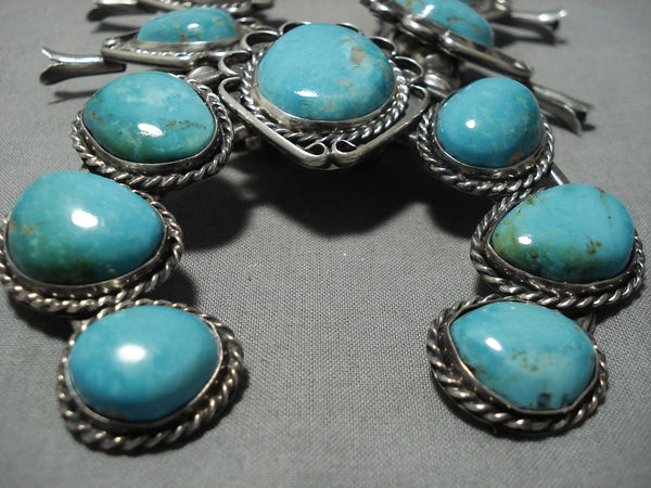 Important Vintage Native American Navajo #8 Turquoise Sterling Silver Squash Blossom Necklace