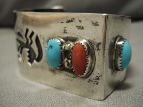 Native American Important Ross Scott Turquoise Coral Sterling Silver 3d Bracelet Old