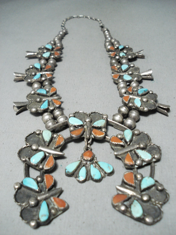Butterfly Vintage Native American Navajo Turquoise Coral Sterling Silver Squash Blossom Necklace