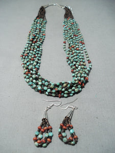 Native American Rare Vintage Santo Domingo Turquoise Coral Sterling Silver Necklace Earring Set