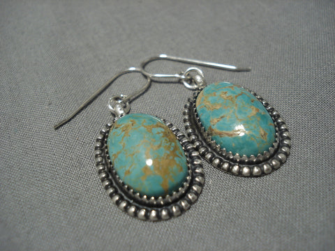 Native American Important Jeanette Dale Royston Turquoise Sterling Silver Earrings