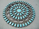 Larry Moses Begay Vintage Native American Navajo Turquoise Teardrop Sterling Silver Pin