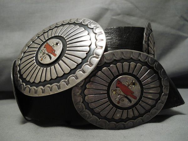 One Of Best Vintage Native American Navajo Turquoise Coral Sterling Silver Inlay Concho Belt