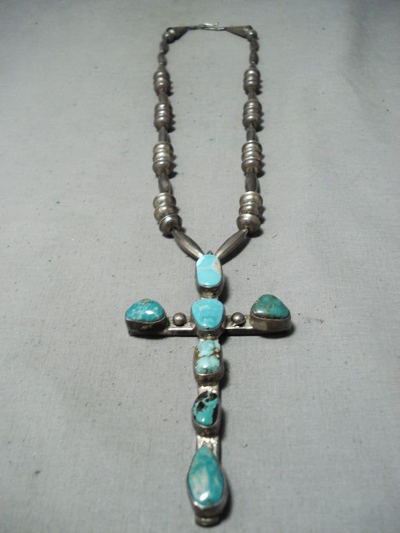 One Of The Biggest Ever Vintage Native American Navajo Turquoise Sterling Silver Cross Necklace