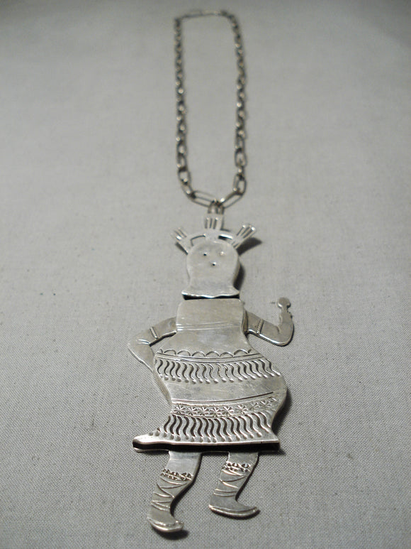 One Of Biggest Vintage Native American Navajo Dancing Kachina Sterling Silver Necklace Old
